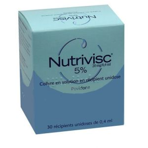 NUTRIVISC 5 POUR CENT (20 mg/0,4 ml), collyre en solution en récipient unidose